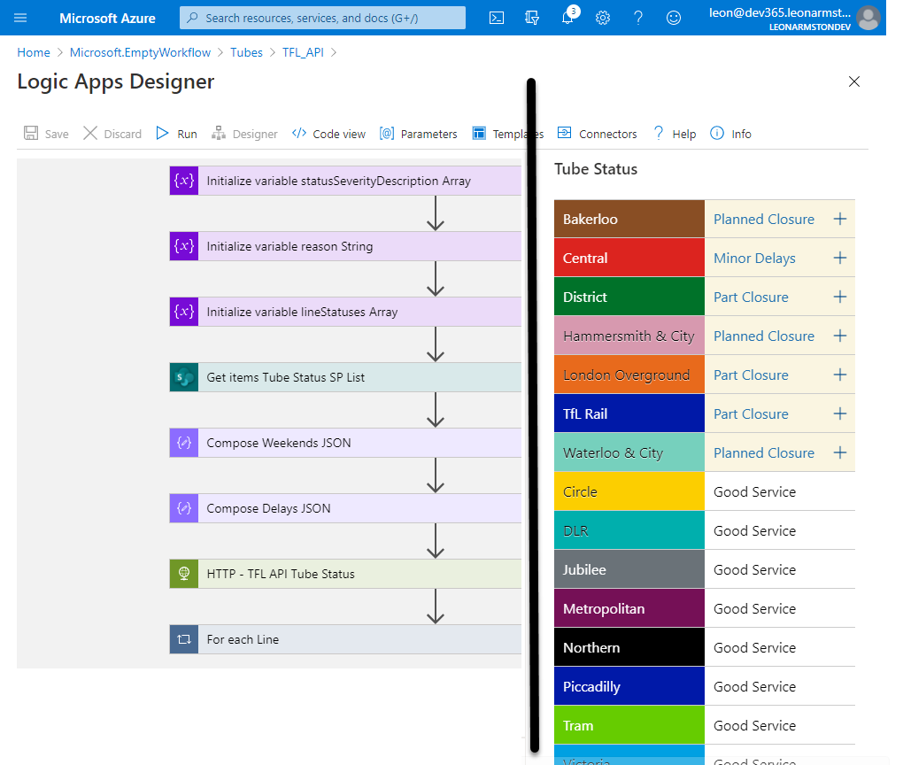 Live London Underground Line Status Solution Summary & Learnings From Converting To Azure Logic Apps